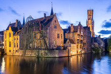 Old Town At Dusk, Rozenhoedkaai, Bruges, Belgium