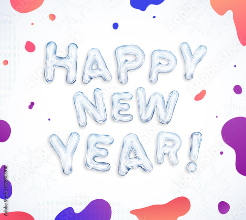 Happy New Year greeting cards! Creative frozen ice font lettering ...