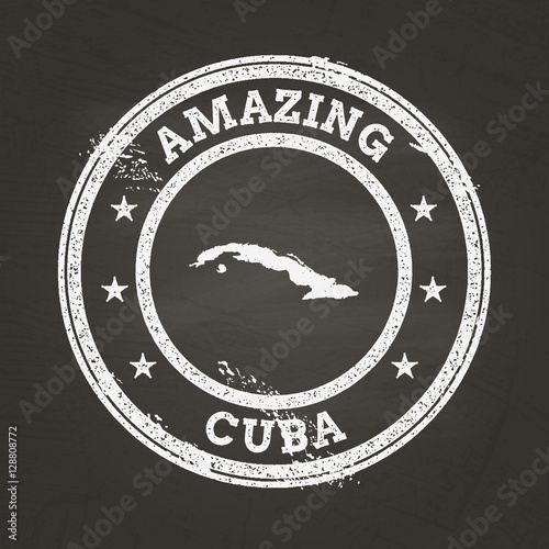 Photo White chalk texture vintage stamp with Republic of Cuba map on a school blackboard
