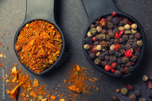 Printed kitchen splashbacks Spices Different spices in spoons on table