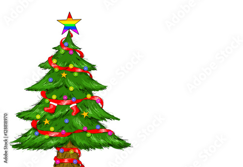 decorated christmas tree gay pride rainbow star - Gay Pride Christmas Decorations