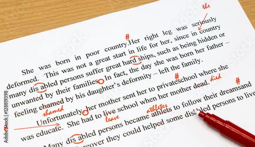 Valokuva  proofreading sheet on table