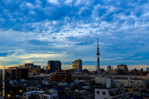Recess Fitting Dubai Building in Tokyo Janpan after sunset with cloud , twilight time