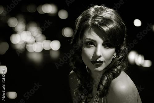 beauty glamor girl portrait. black and white Canvas Print