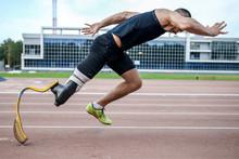 Man Handicap Athlete Explosive Start. Running At Stadium