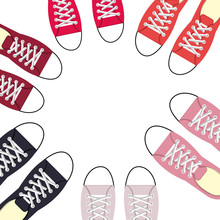Young People Fashion Shoes Vector Illustration Design