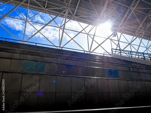 Foto op Plexiglas Stadion Space between the grandstand and roof