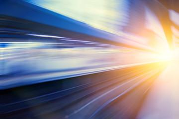 Acceleration super fast speed motion of train station for backgr
