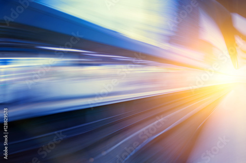 fototapeta na ścianę Acceleration super fast speed motion of train station for backgr