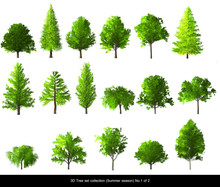 Green Tree Summer Season Set For Architecture Landscape Design, 3D Tree Isolated On White No.1