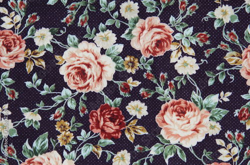 Poster Vintage Flowers Colorful Cotton fabric in vintage rose pattern for background or