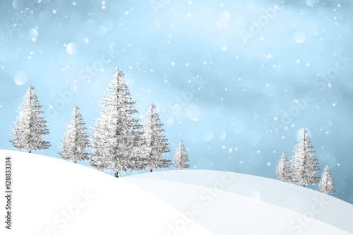 Fotografie, Obraz  Lovely winter snowfall landscape with snowy trees on the hills