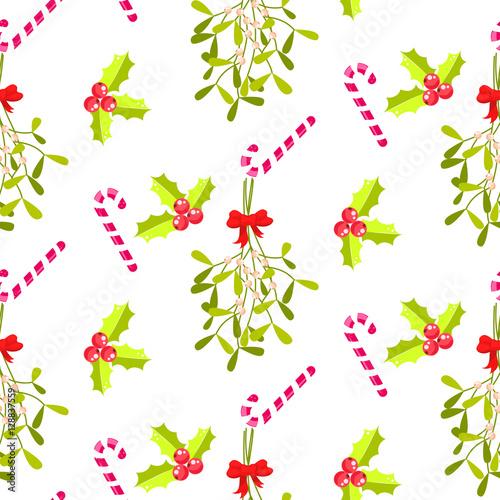 Stoffe zum Nähen Festliche küssen Ast nahtlose Vektormuster. Traditionelle Pflanze mit roter Schleife gebunden. Holly Berry und Stripes candy Cane weißen Hintergrund.