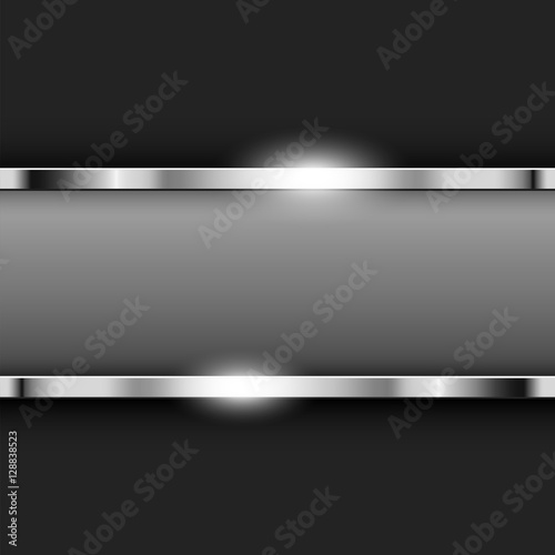 Photo  Metallic Chrome banner with text space Vector illustration