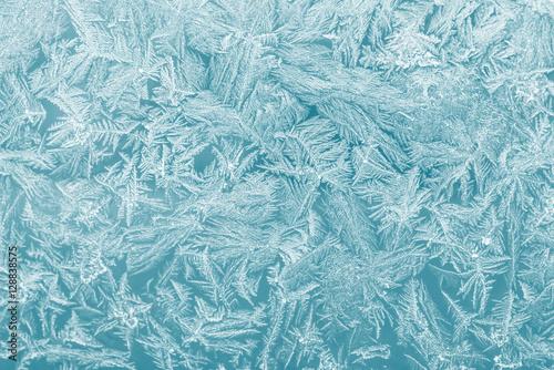 Fototapeta Eiskristalle auf einer Fensterscheibe obraz
