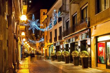 Fototapeta na wymiar Christmas decorations in Old Town of Alba.