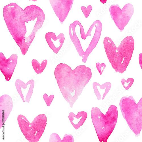 Materiał do szycia Czerwone serca wzór. Happy Valentines day tło. Bezszwowe pa
