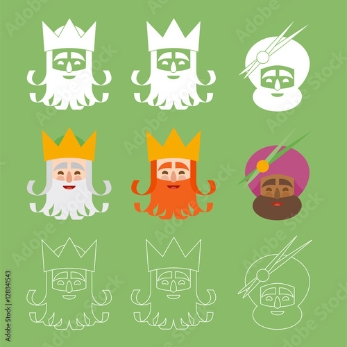 the three kings of orient. 3 magi icons vector green set