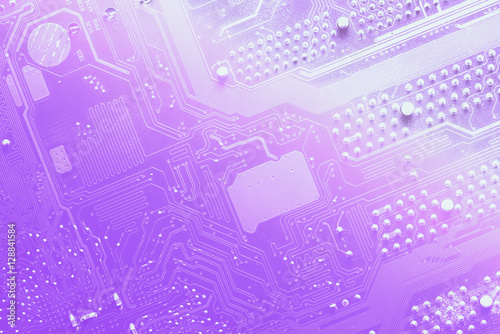 Fotografie, Obraz  close up of the violet circuit board