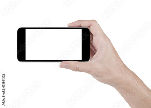 Fotografiet  hand holding horizontal the black smartphone with white screen w