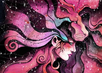 Fototapeta Znaki Zodiaku watercolor girl in the mask of a lion symbolizes the zodiac sign