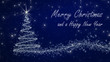 """""""Merry Christmas and a happy New Year"""" - Christmas and Silvester Card in blue and silver"""