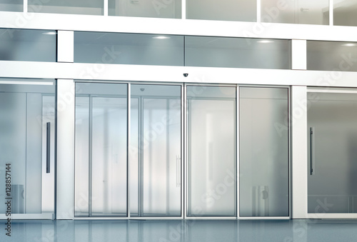 Blank Sliding Glass Doors Entrance Mockup 3d Rendering Commercial