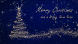 """""""Merry Christmas and a happy New Year"""" - Christmas and Silvester Card in blue and gold"""