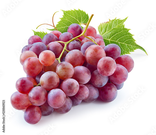 Ripe red grape with leaves isolated on white. With clipping path Fototapete