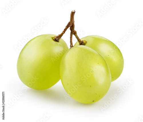 Fototapeta Green grape isolated on white. With clipping path. obraz