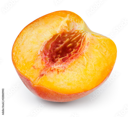 Peach. Half of fruit isolated on white. With clipping path.