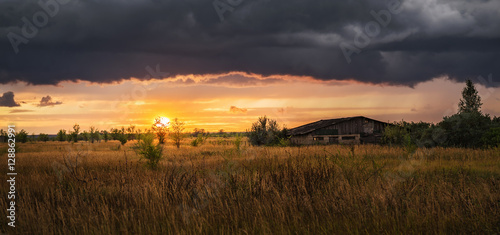 Tuinposter Baksteen Sunset in a field