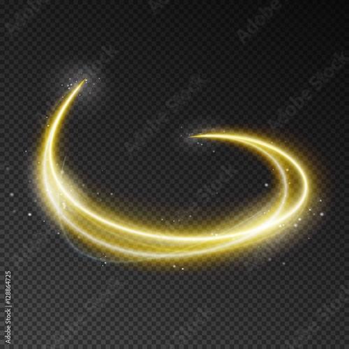 Fototapeta Neon blurry circles at motion . Vector swirl trail effect . Abst obraz na płótnie