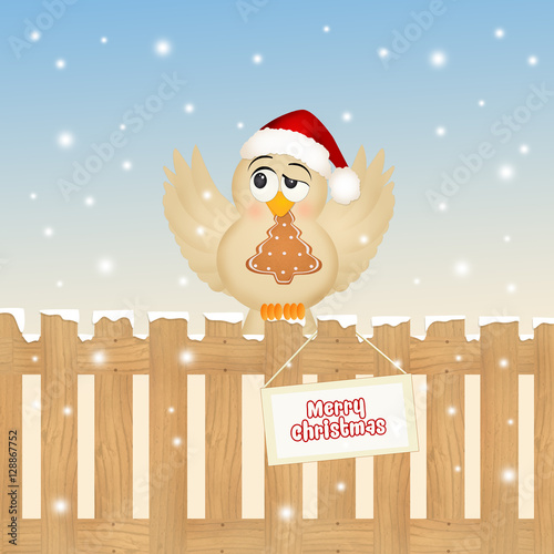 Poster Vogels, bijen funny bird at Christmas