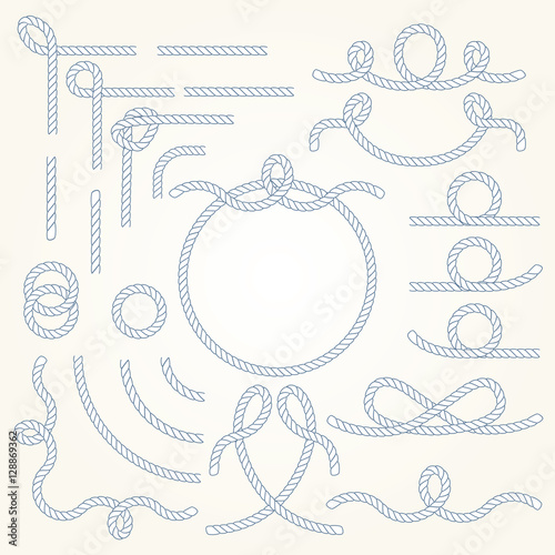Fotografia  Rope nautical vector borders elements set