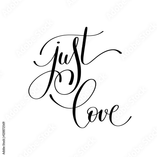just love handwritten lettering quote about love to valentines d Canvas Print
