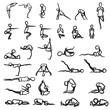 Strichmännchen Yoga Posen