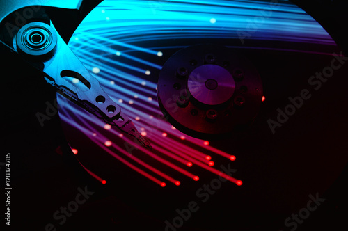 Close Up Of Computer Hard Disk Drive With Abstract Color