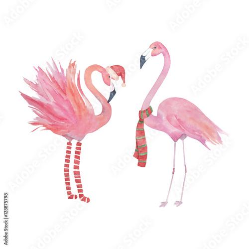 Canvas Prints Flamingo Bird Watercolor christmas flamingo, decorative design.Isolated elements