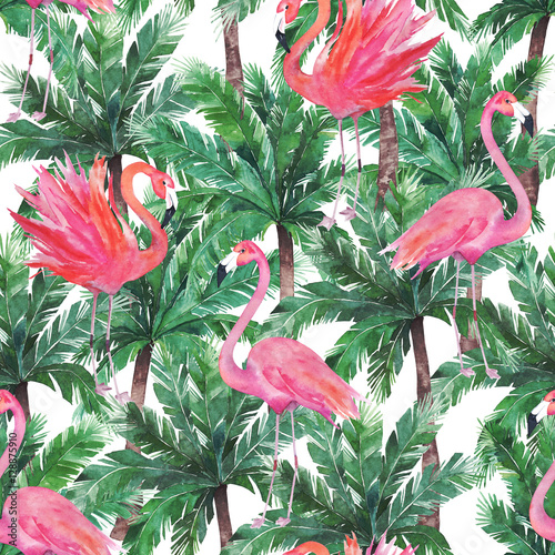 Cotton fabric Watercolor pink flamingos, exotic birds, tropical palm leaves. S