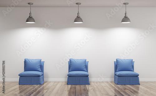 Poltrone blu illuminate in soggiorno con parquet render 3d Billede på lærred