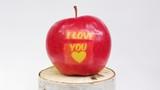 Czerwone jabłko z napisem kocham cię na jasnym tle