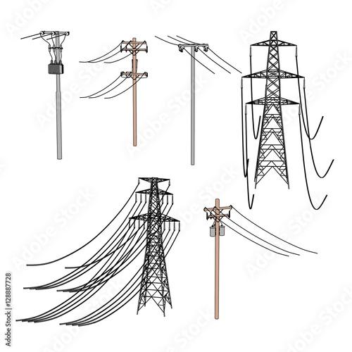 2d cartoon illustration of electric lines Fototapeta