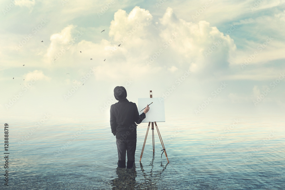Fototapety, obrazy: painter with brush with canvas easel finding insiration in water