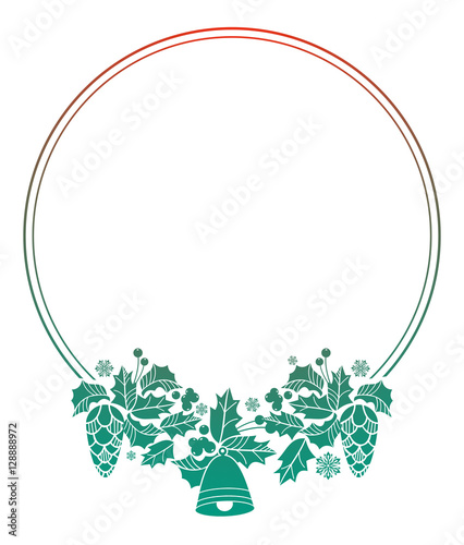 Fototapety, obrazy: Round Christmas label with holiday decorations. Color gradient fill. Copy space.