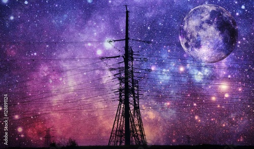 Spoed Foto op Canvas Snoeien Landscape with power lines and night sky