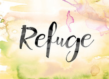 Refuge Colorful Watercolor And Ink Word Art