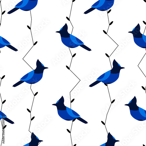Photo Seamless pattern with blue jay and branches