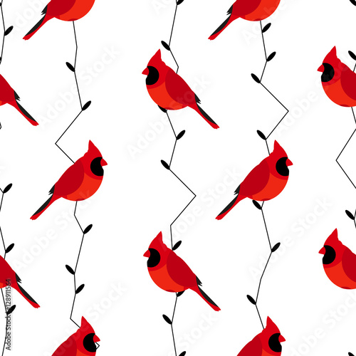 Fotomural Seamless pattern with red cardinal and branches
