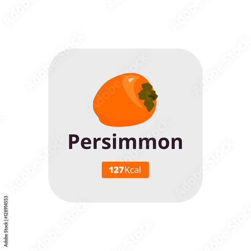 Persimmon Calories Persimmon Icon In Flat Style Persimmon Logo Buy This Stock Vector And Explore Similar Vectors At Adobe Stock Adobe Stock